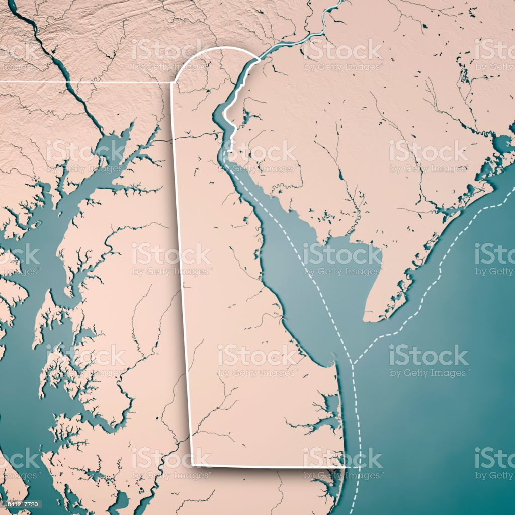 Delaware State Usa 3d Render Topographic Map Neutral Border Stock
