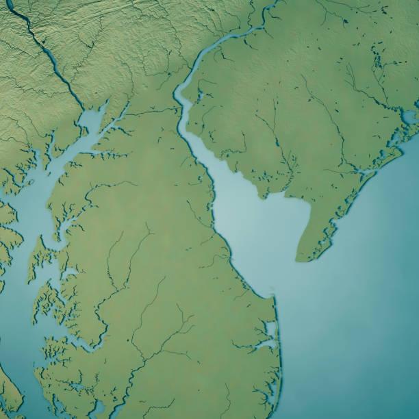 topographische karte der delaware state usa 3d render - karten de stock-fotos und bilder