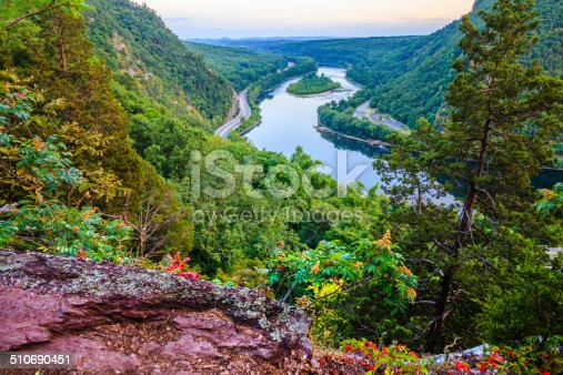 Delaware Water Gap, Pennsylvania. Scenic view from the Mount Tammany to the Highway 80 with the light's trail