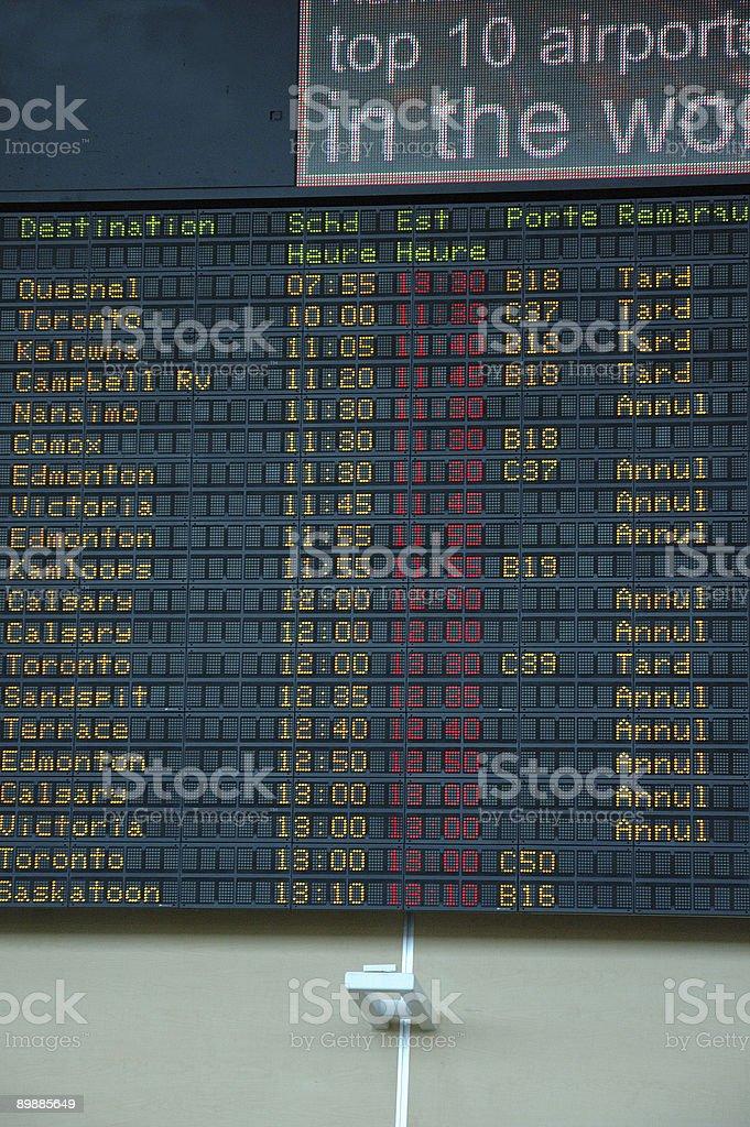 Atrasado e cancelamento de voos em um aeroporto foto de stock royalty-free