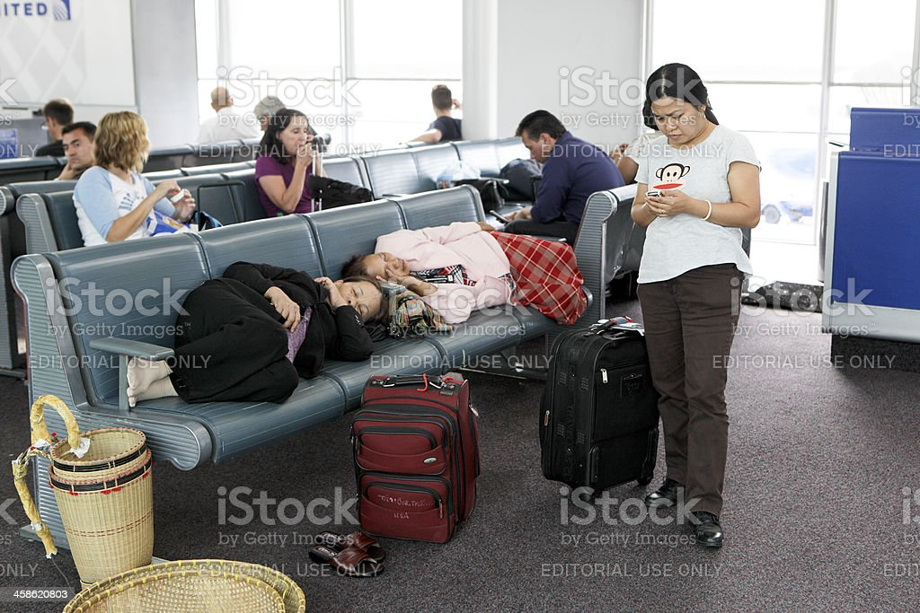 Delayed and Tired Travelers stock photo