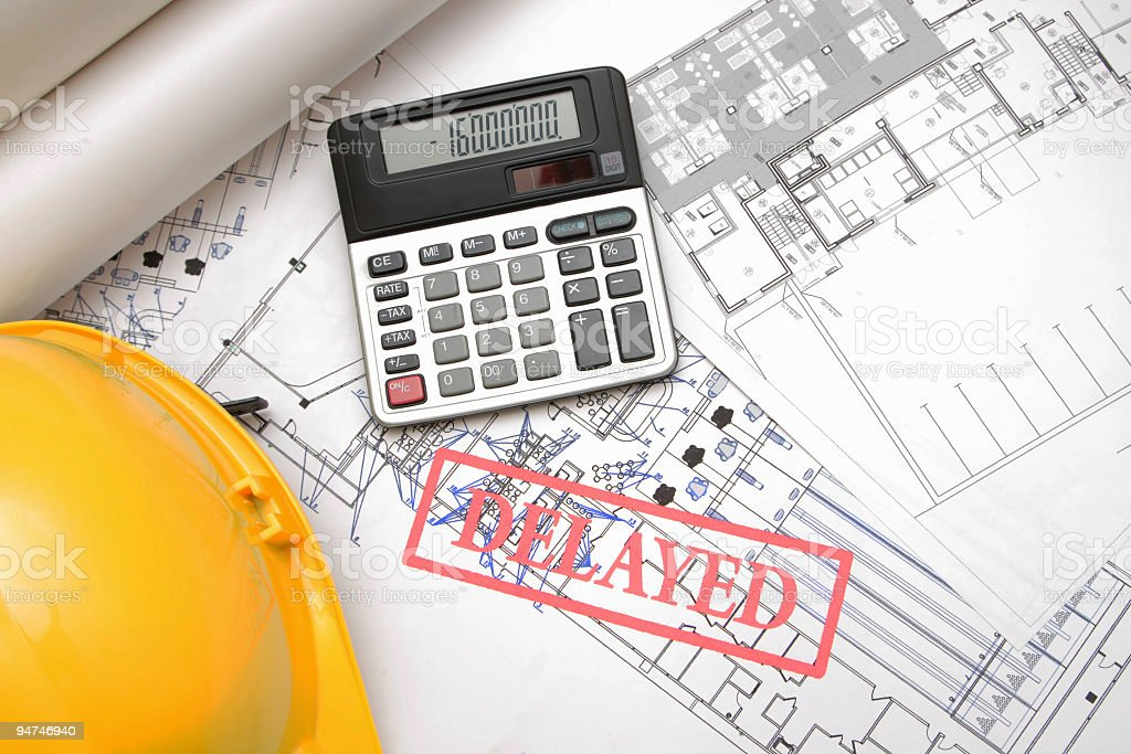 delayed project because of debts stock photo