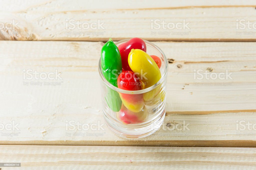 Delectable imitation fruits on woodedn table, Thai traditional d royalty-free stock photo