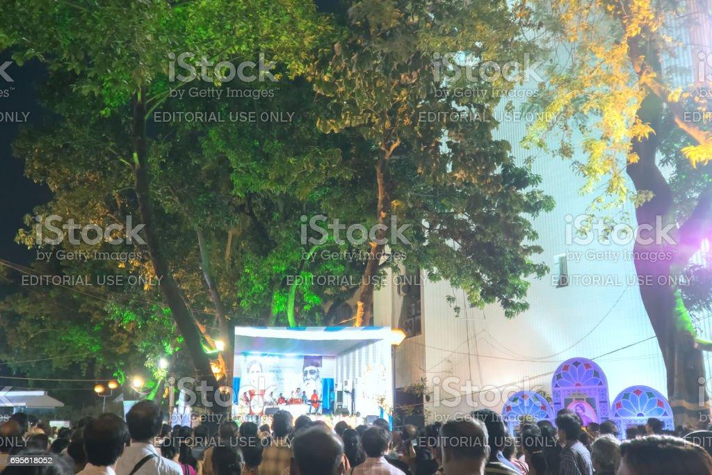 Delegates at Rabindra Jayanti festival , Kolkata. stock photo