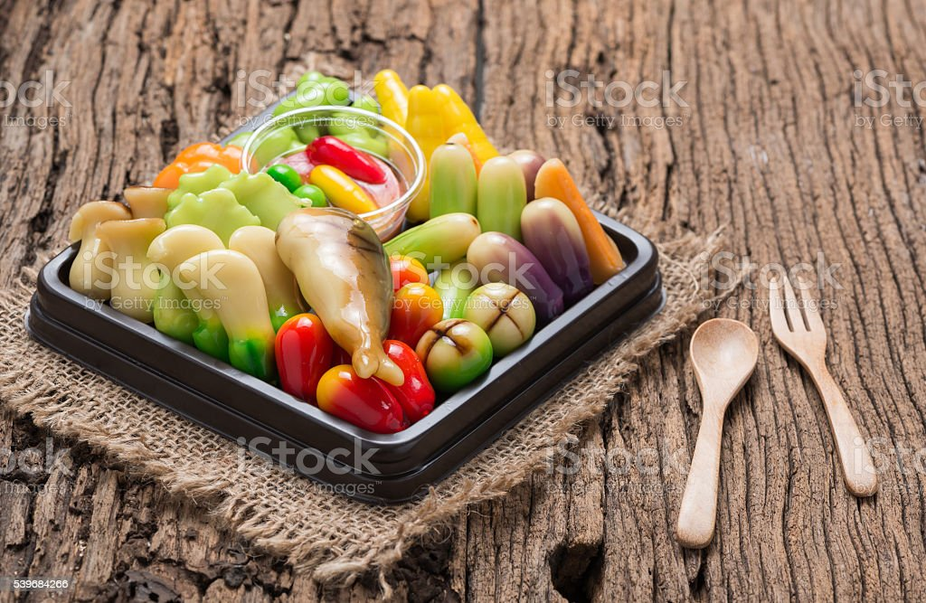deletable imitation fruits or Kanom look choup stock photo