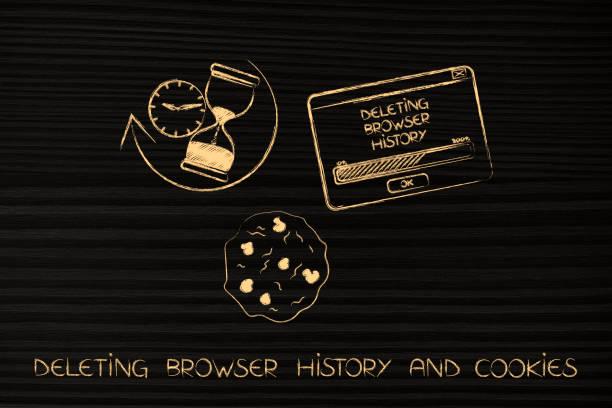 löschen der browser-history mit sanduhr, cookies und pop-up-ikonen - pop up stock-fotos und bilder