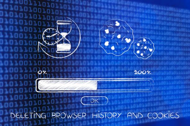 löschen der browser-history mit sanduhr, cookie und progress bar - pop up stock-fotos und bilder