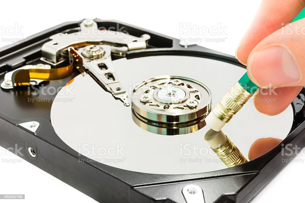 Deleting data from the harddisk stock photo