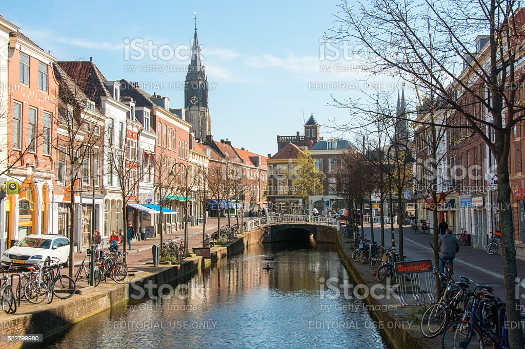 Delft bike route along city canal in spring stock photo
