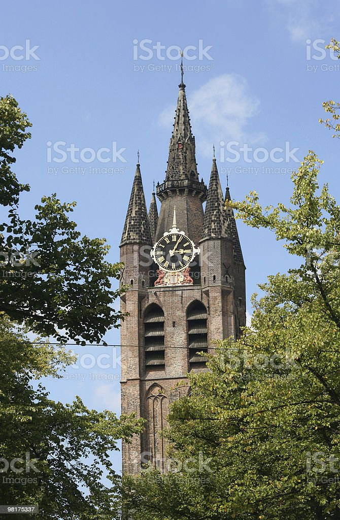 Delft Chiesa Tower foto stock royalty-free