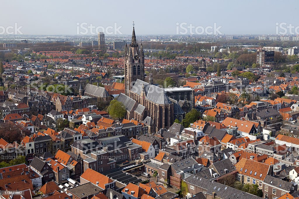 Delft Holland Aerial View stock photo