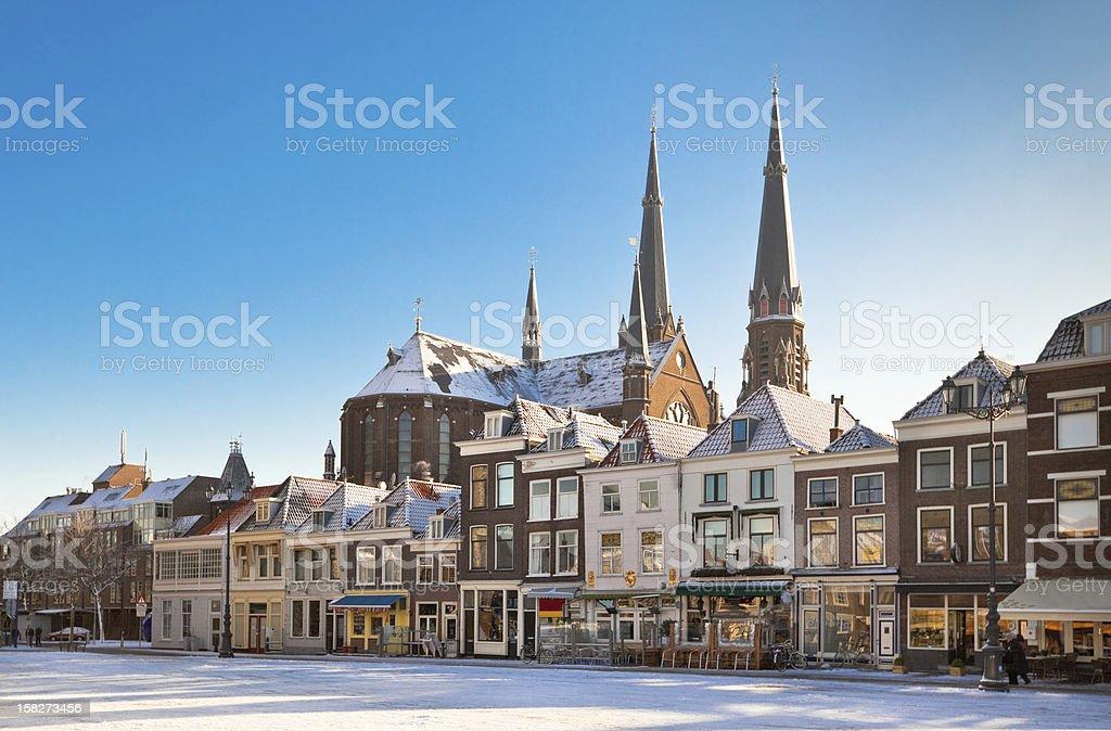 Delft Main Square at Winter stock photo