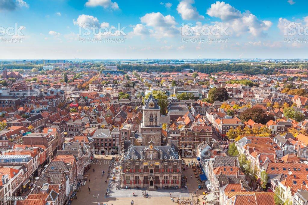 Delft, Netherlands - September 23 2017: Delft city center stock photo