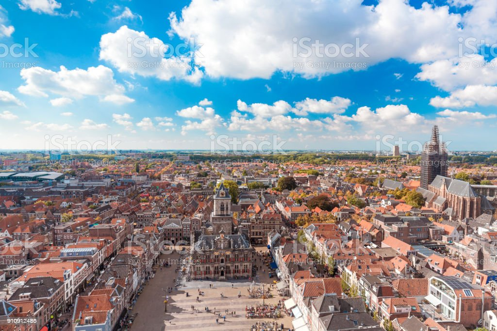 Delft, Netherlands - September 23 2017: Delft city panoramic view stock photo