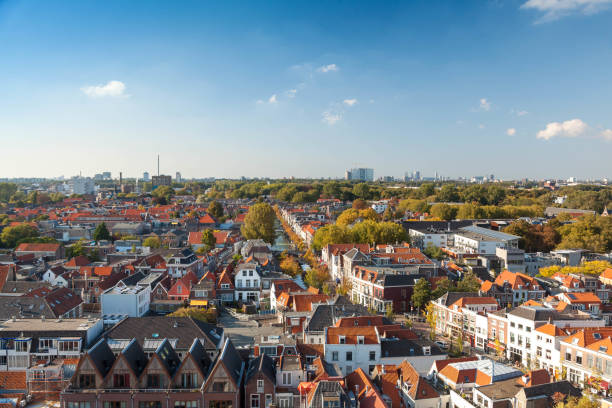 Delft, Netherlands - September 23 2017: Royal city Delft aerial view stock photo
