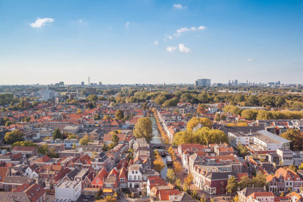 Delft, Netherlands - September 23 2017: Traditional netherlands architecture with canals from above stock photo