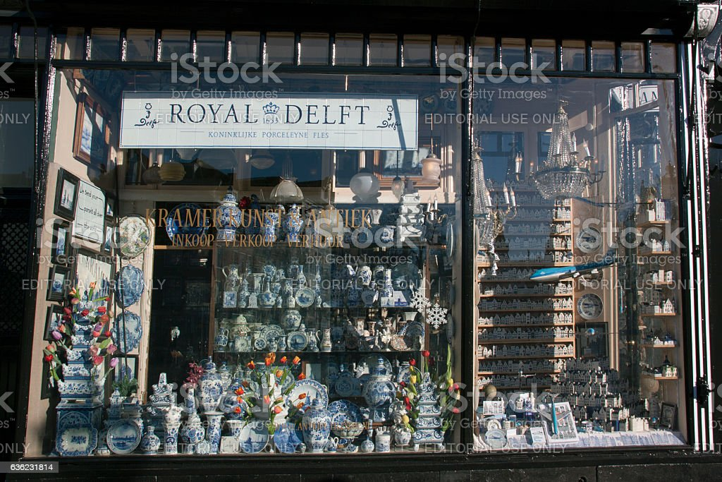 delft pottery store in Amsterdam stock photo