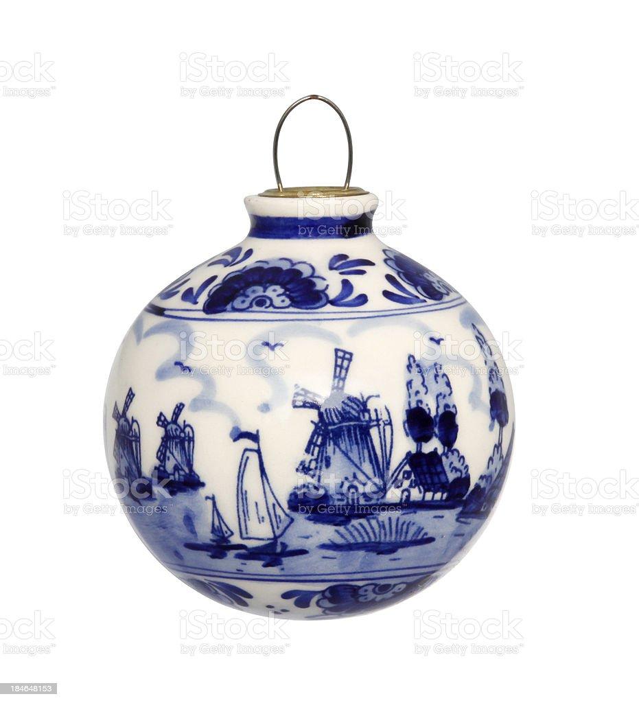 Delfts blue christmas bauble stock photo
