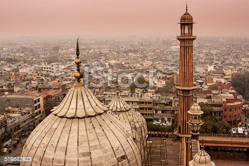 high angle view of the Delhi skyline