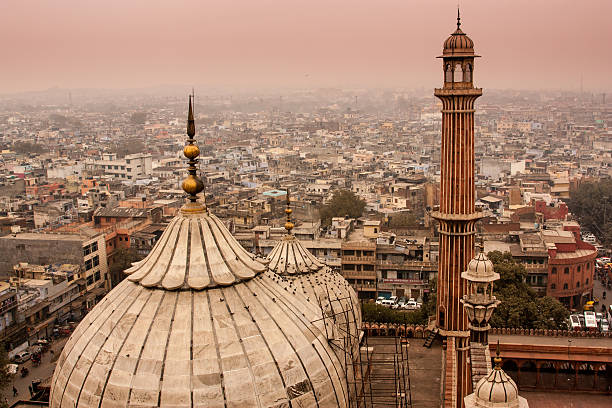 Delhi skyline high angle view of the Delhi skyline minaret stock pictures, royalty-free photos & images