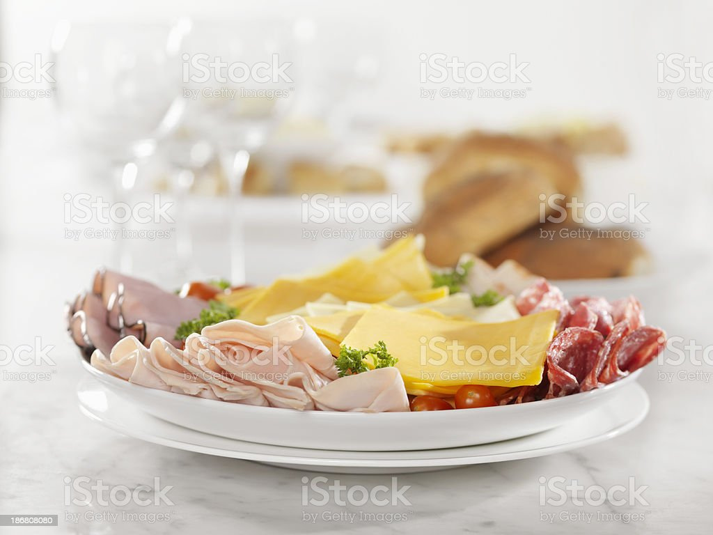 Deli Meat and Cheese Party Platter royalty-free stock photo