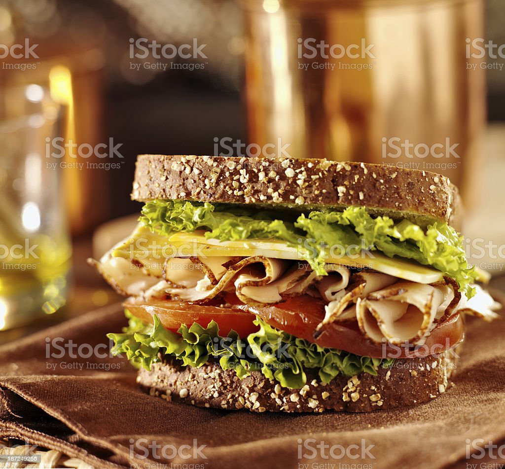 deli meat sandwich with turkey stock photo