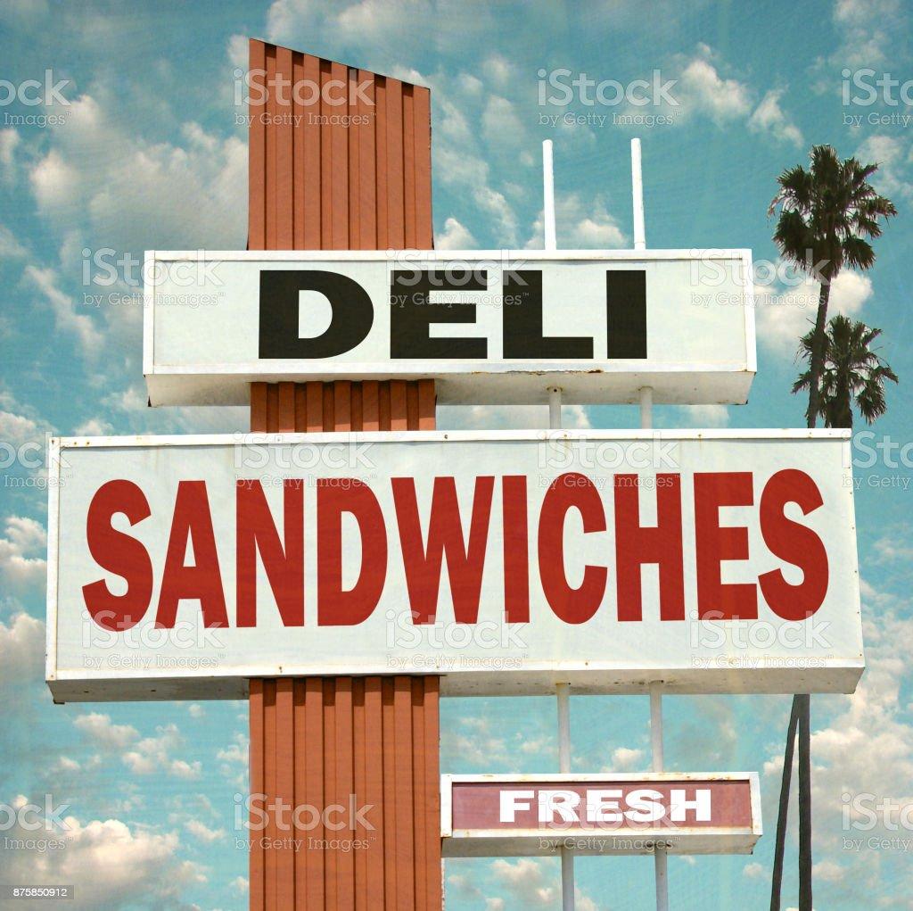 deli sandwiches sign stock photo