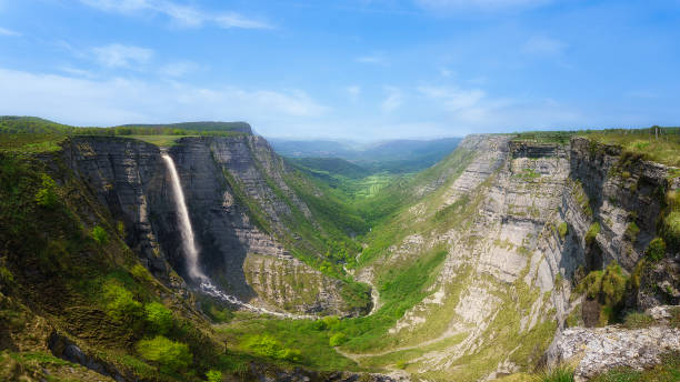 Delica canyon and Nervion waterfall stock photo