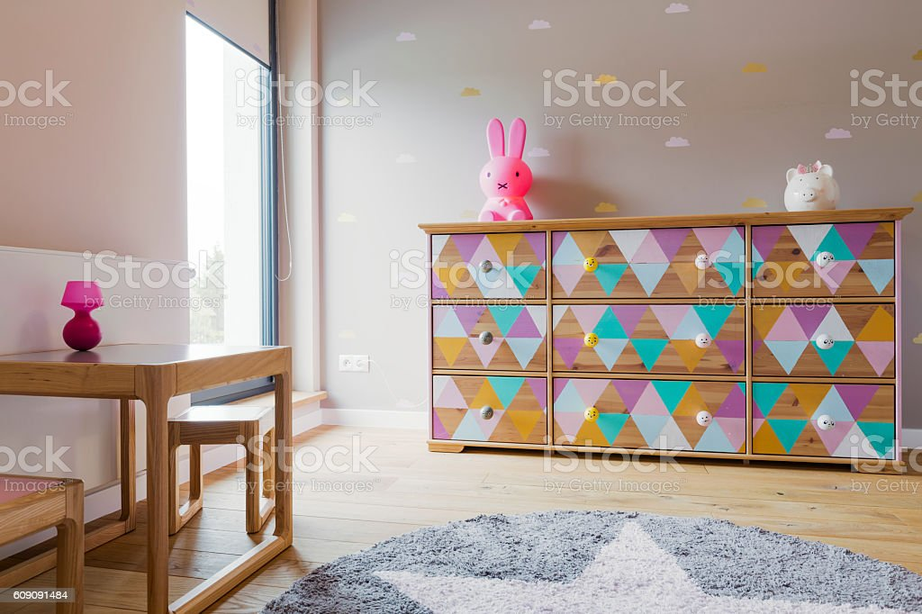 Delicacy of little girl's pastel-coloured room stock photo