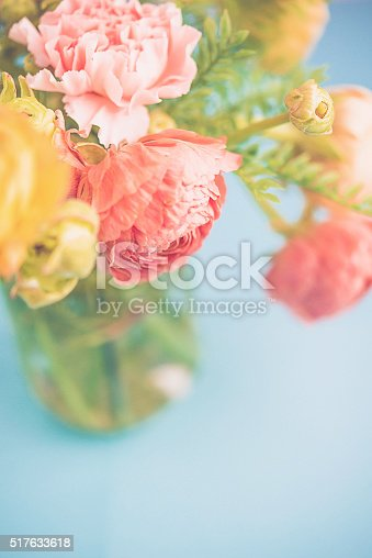 Delicate and beautiful ranunculus and carnation bouquet for Mother's Day