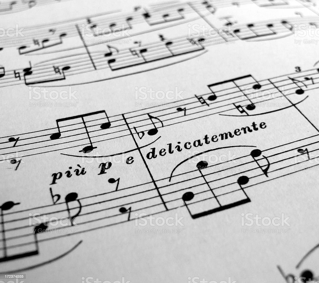 Delicate and Soft Sheet Music stock photo