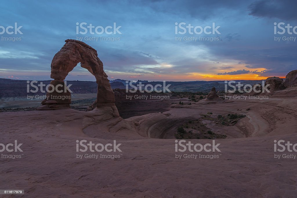 Delicate Arch after Sunset stock photo