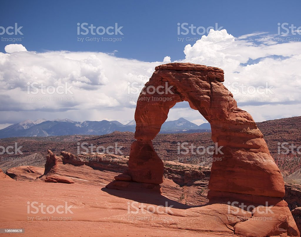 Delicate Arch and Distant Storms stock photo