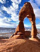Wonderful view of Delicate Arch . Trail, Moab, Utah. USA.