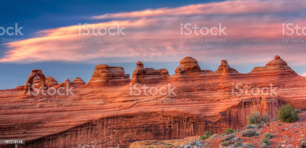Delicate Arch at Dusk, Panorama royalty-free stock photo