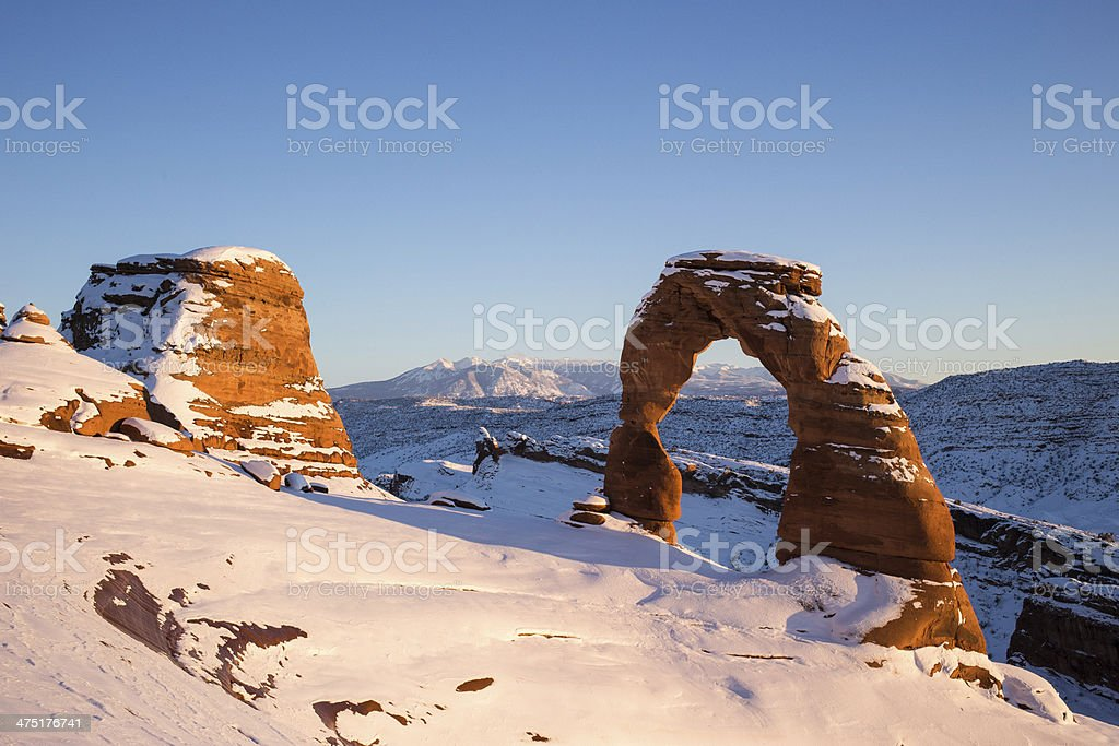 Delicate Arch At Sunset In Winter Stock Photo Download