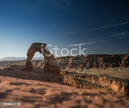 A night time photo taken of Delicate Arch in Utah USA.