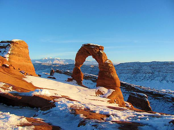Delicate Arch in Snow Delicate Arch in Snow (Arches National Park, Utah) delicate arch stock pictures, royalty-free photos & images