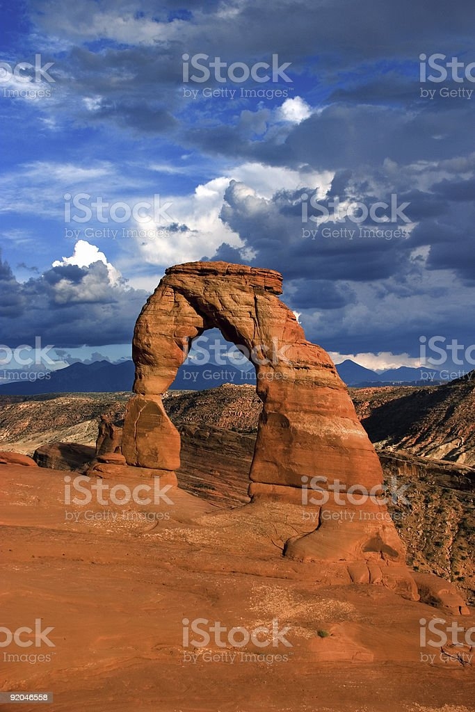 Delicate Arch in the Summer stock photo