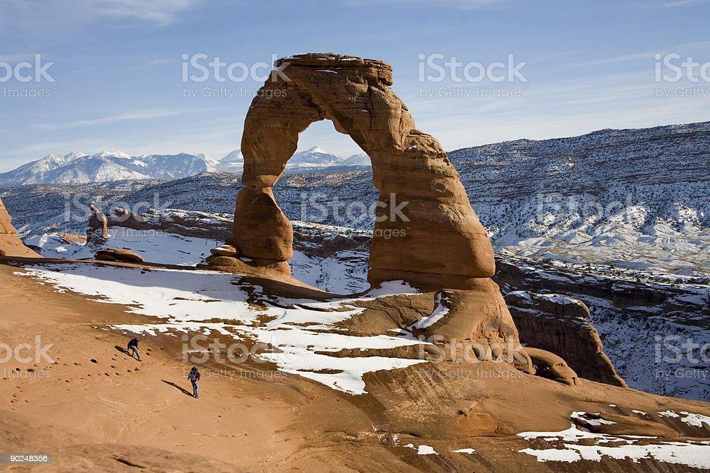 Delicate Arch in winter stock photo