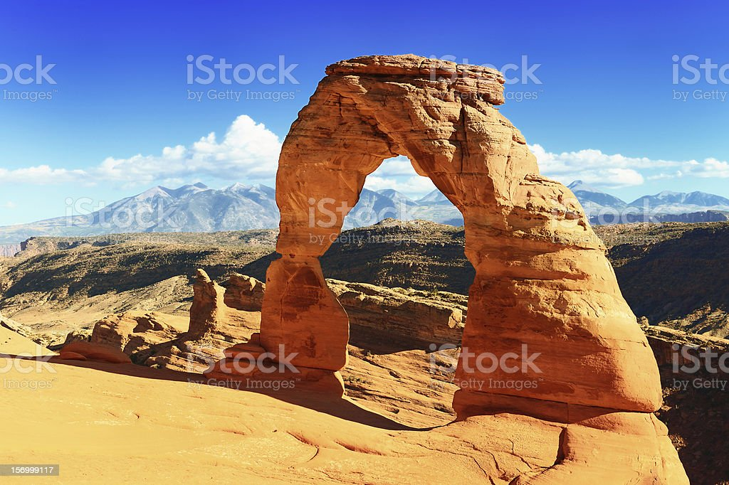 Delicate Arch located in Arches National Park, Utah stock photo