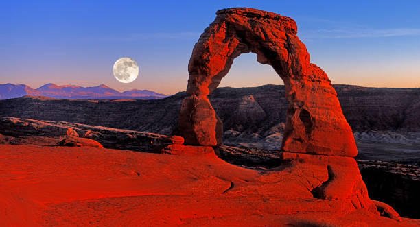 Delicate Arch Moonrise,Arch's National Park,UT Delicate Arch delicate arch stock pictures, royalty-free photos & images