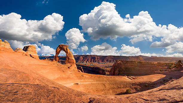 Delicate Arch Panorama, Late Afternoon View Delicate Arch, Late Afternoon View, Arches National Park, Utah delicate arch stock pictures, royalty-free photos & images
