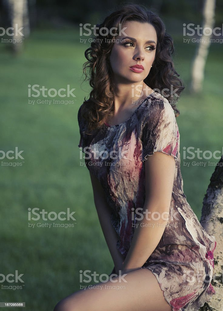 Delicate brunette woman looking at the landscape royalty-free stock photo