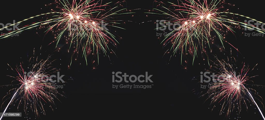Delicate burst of fireworks in the night sky royalty-free stock photo