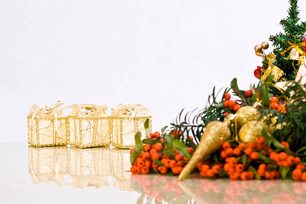 Delicate Christmas Decoration with Presents in the Back stock photo