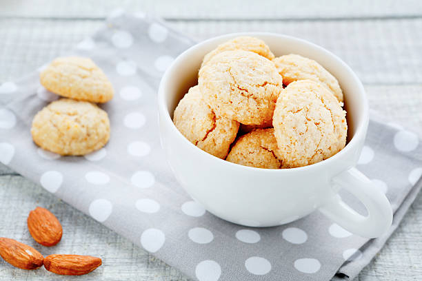 delicate cookies with almonds and amaretto stock photo