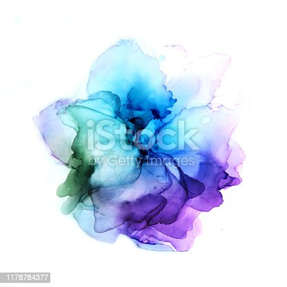 Delicate hand drawn watercolor flower in blue and violet tones. Alcohol ink art. Raster illustration. Trendy style. Perfect for polygraphy design.