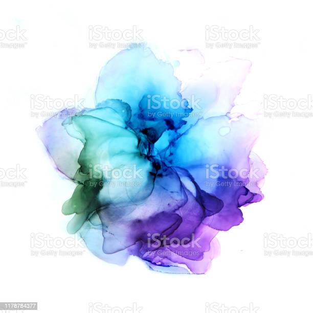 Photo of Delicate hand drawn watercolor flower in blue and violet tones. Alcohol ink art. Raster illustration.