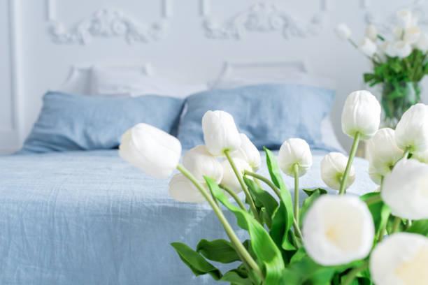 zarte innere eines schlafzimmers in blautönen mit körben und vasen mit tulpen - bauernhaus bett stock-fotos und bilder